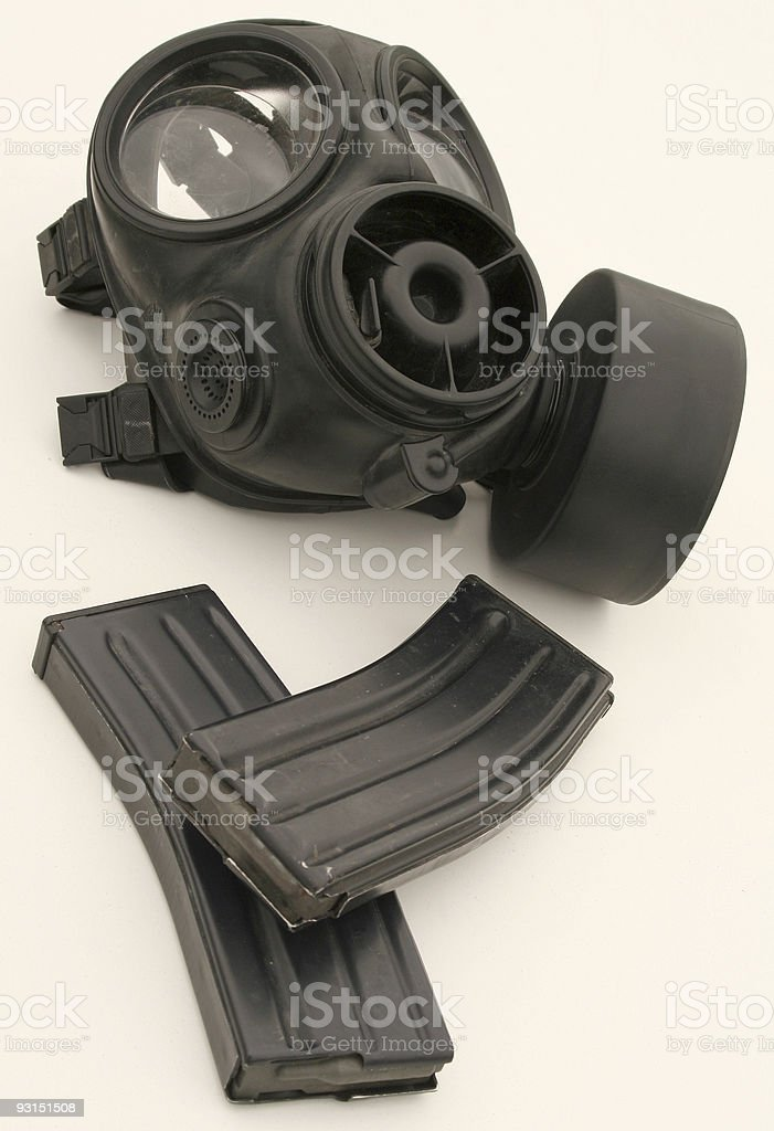 Gas Mask and Magazines royalty-free stock photo