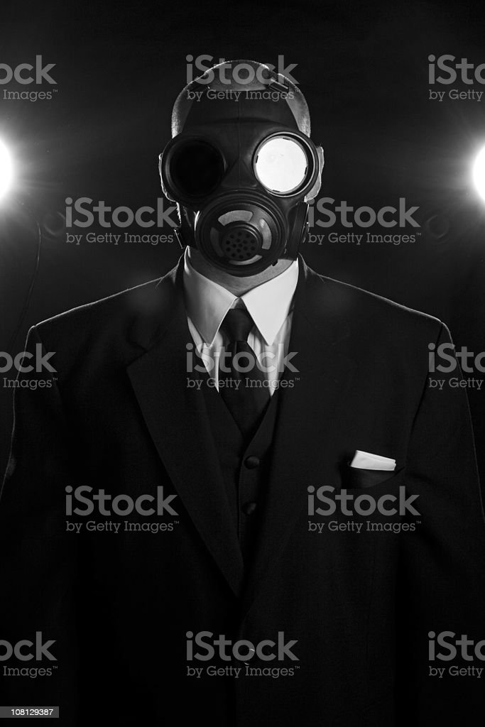 Gas Mask and Neck Tie royalty-free stock photo