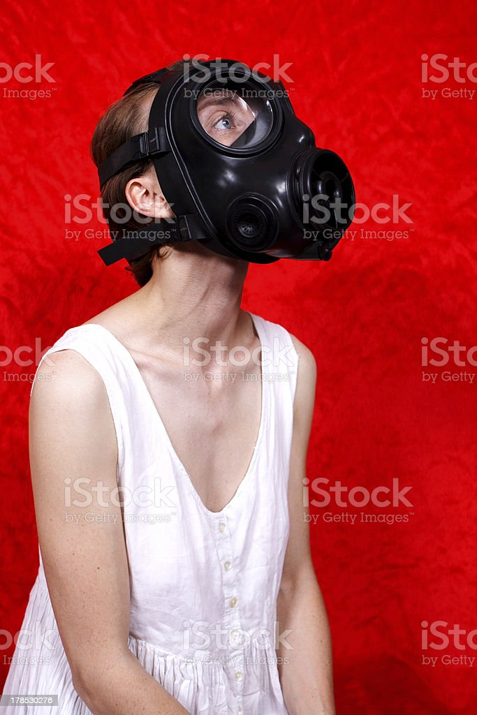 gas mask and white dress royalty-free stock photo