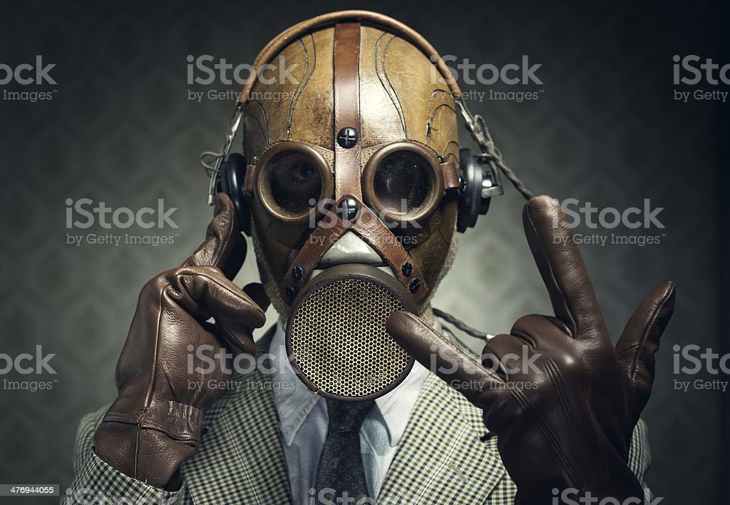 Gas mask rock stock photo