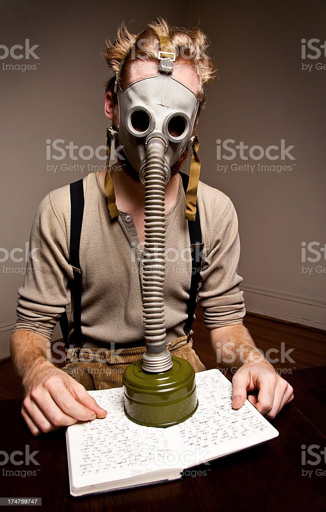 Gas Mask Study royalty-free stock photo