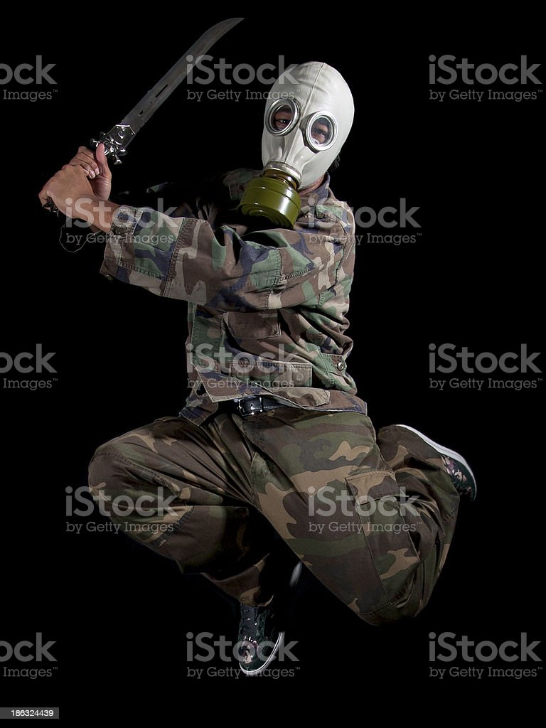 Gas Mask Super Villain or Superhero Costume for Halloween royalty-free stock photo