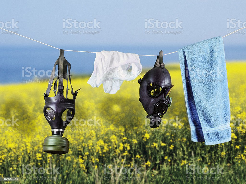 Gas masks: a new daily chore? stock photo