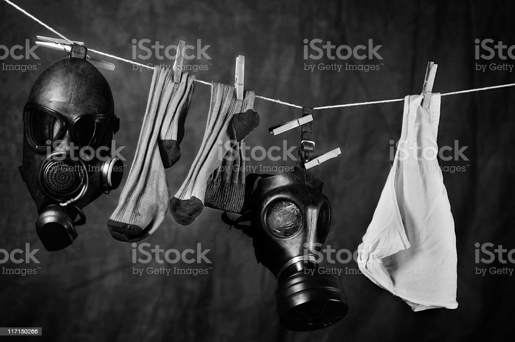 Gas masks: are they going to become familiar? stock photo