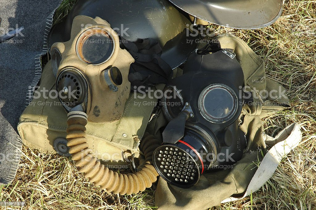 WWII Gas Masks stock photo