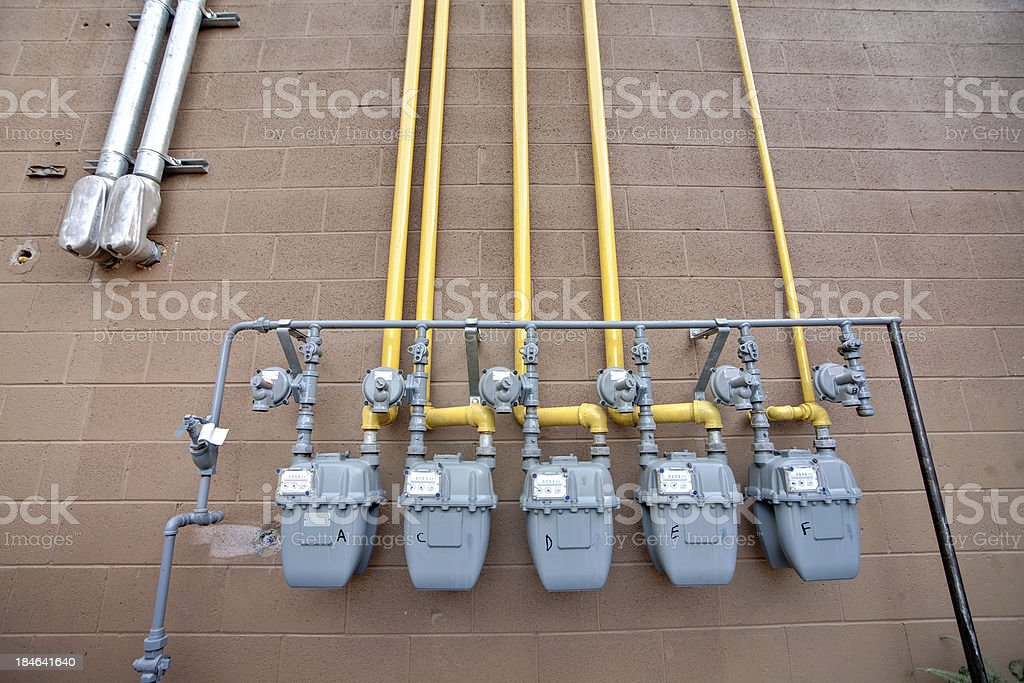 Gas meters royalty-free stock photo