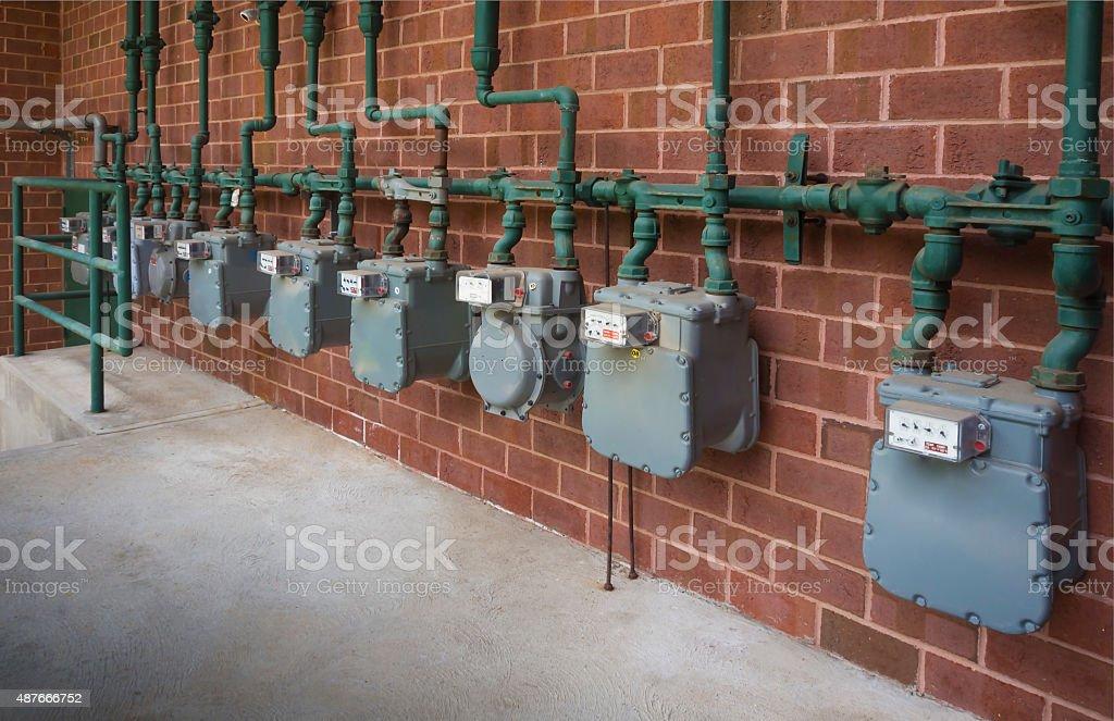Gas meters stock photo
