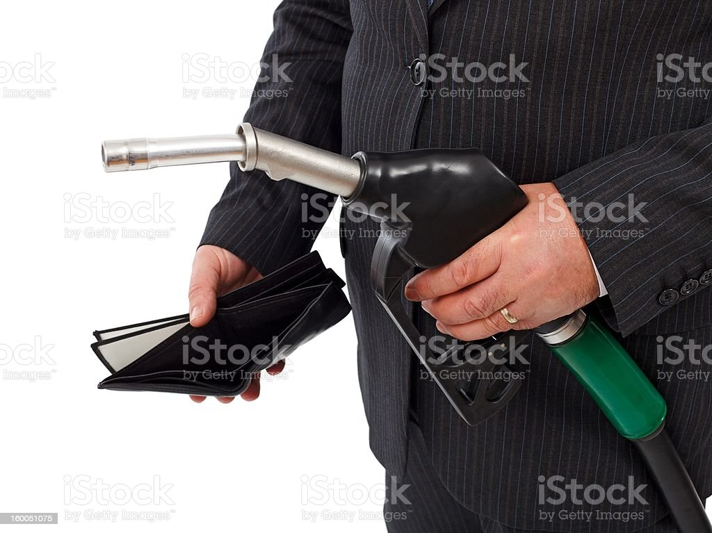 Gas nozzle and empty wallet royalty-free stock photo