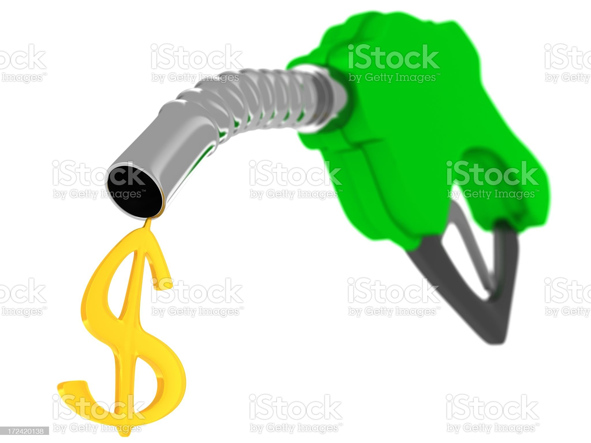 Gas nozzle with fuel dollar sign royalty-free stock photo