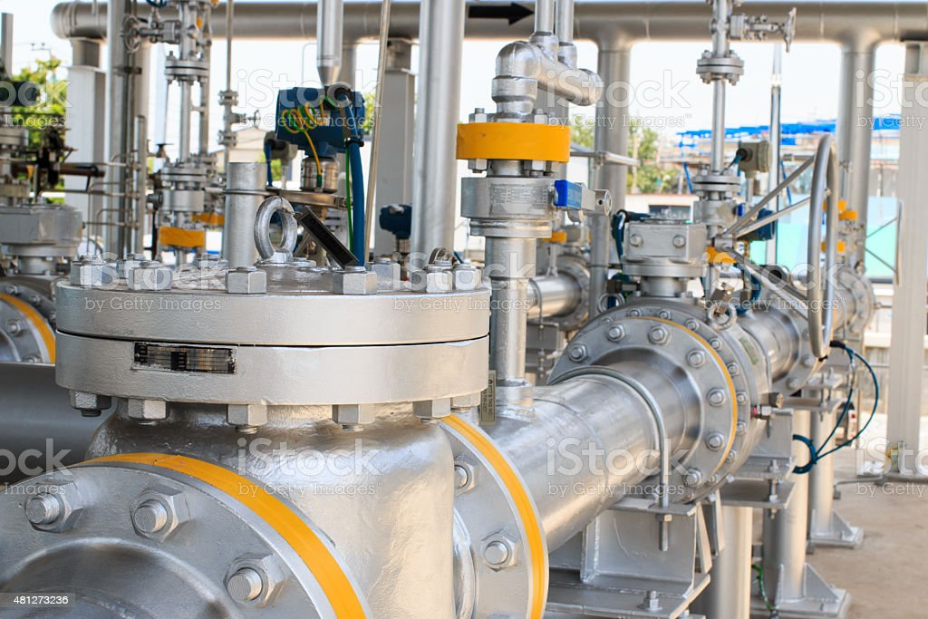 Gas pipeline and valve stock photo