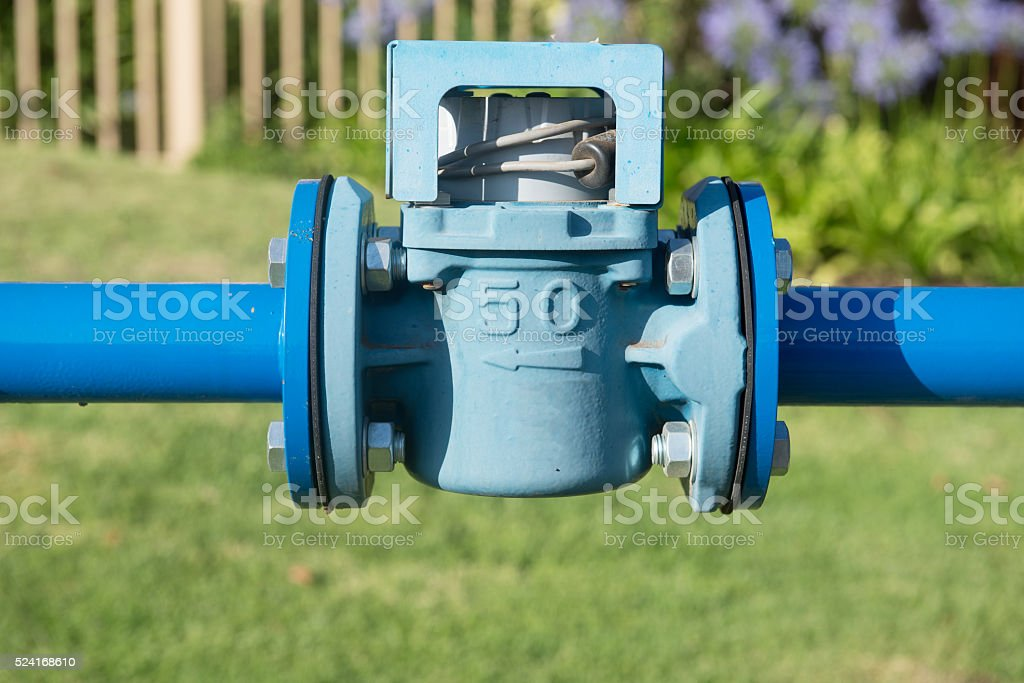 Gas pipeline in city outdoor photo stock photo