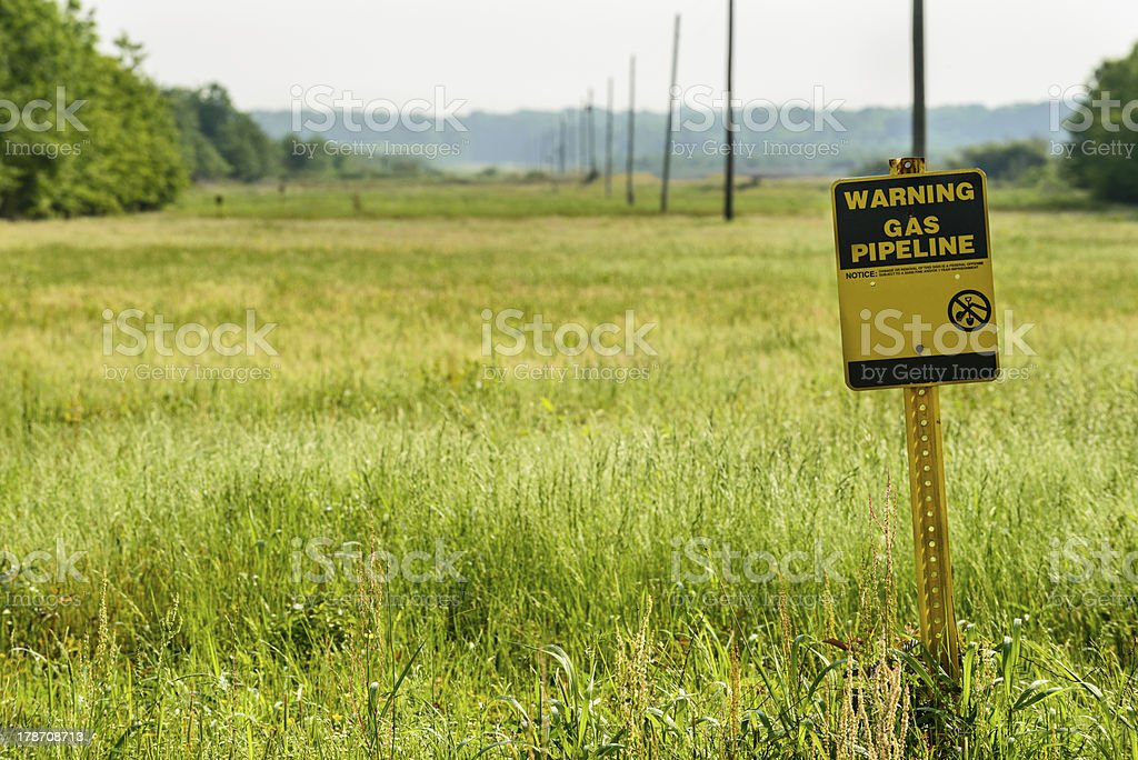 Gas pipeline sign and right-of-way stock photo