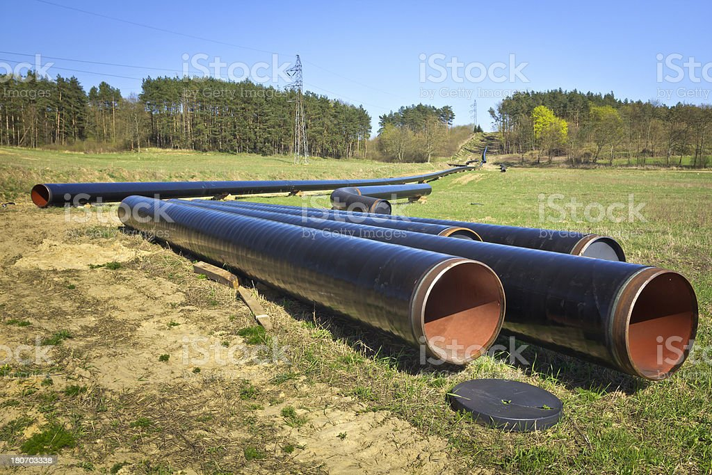 Gas pipeline under construction royalty-free stock photo