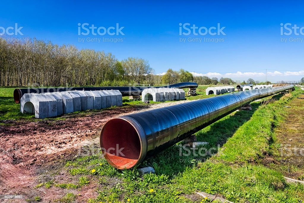 Gas pipeline under construction stock photo