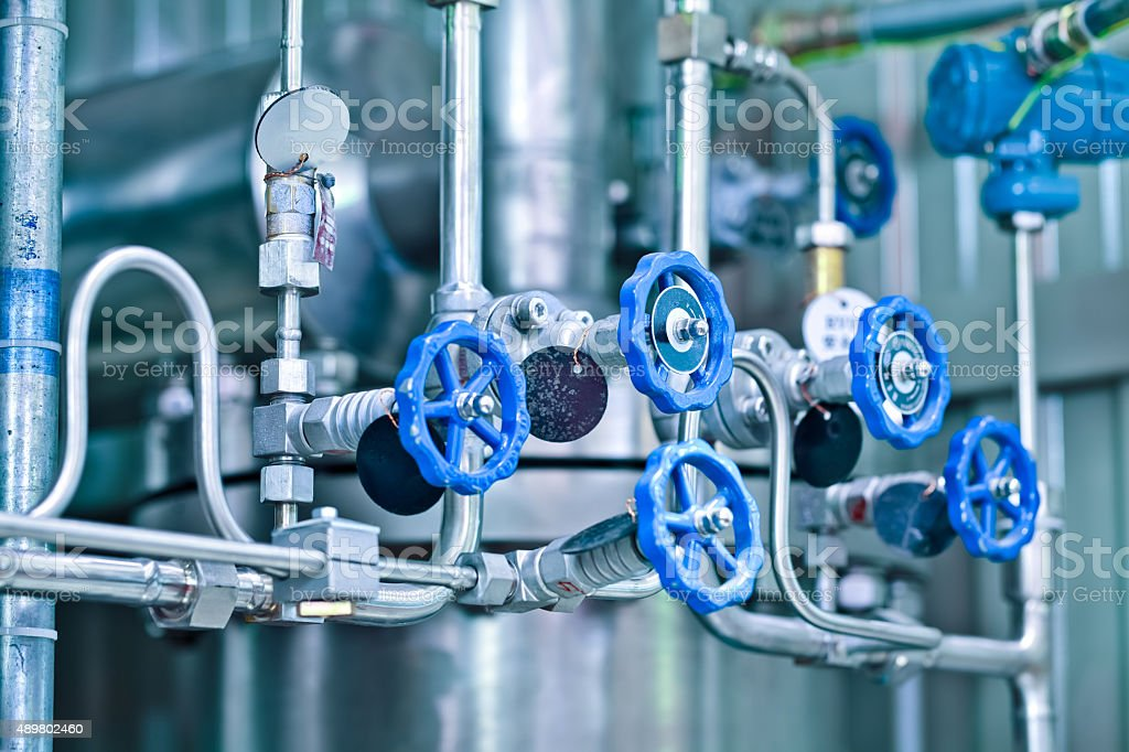 Gas pipeline valves stock photo