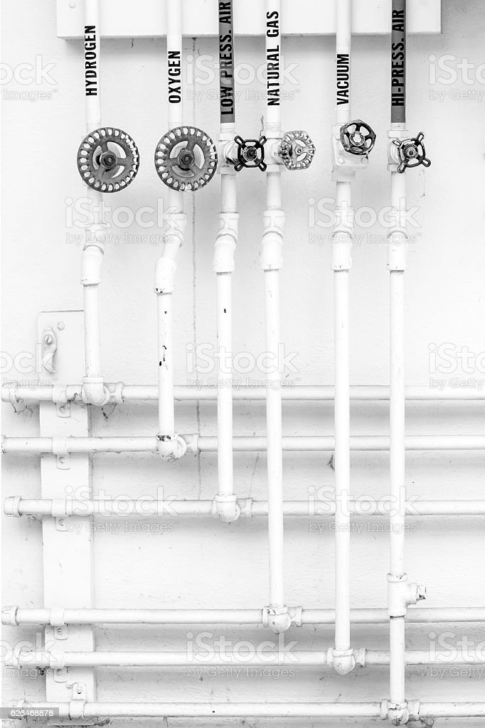 Gas Pipes & Antique Valves - Vintage Laboatory Equipment stock photo