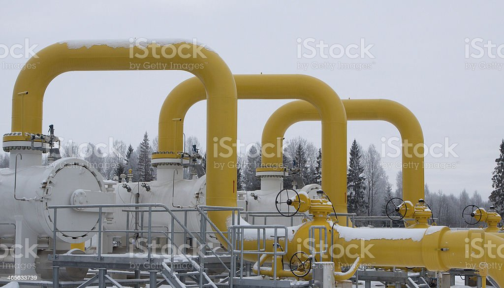 Gas pipes stock photo