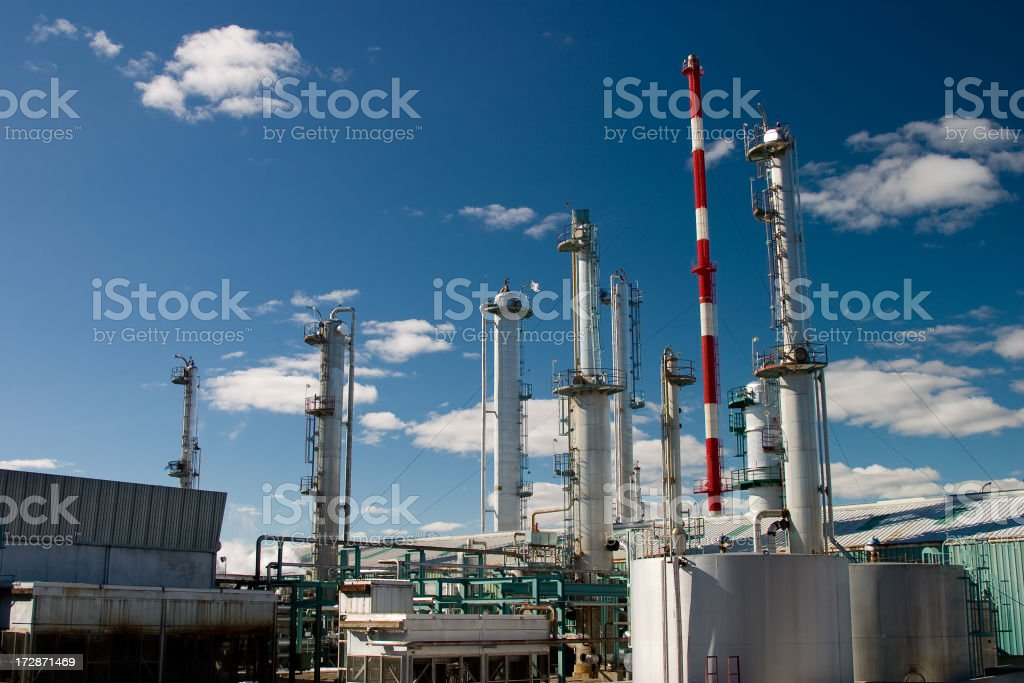 gas plant cooling towers stock photo
