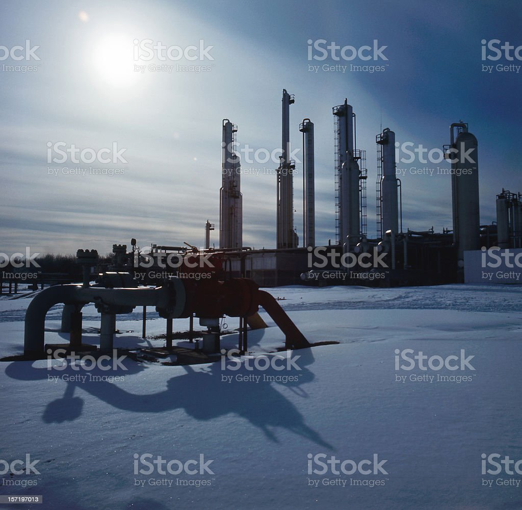 Gas Plant Towers in Silhouette royalty-free stock photo