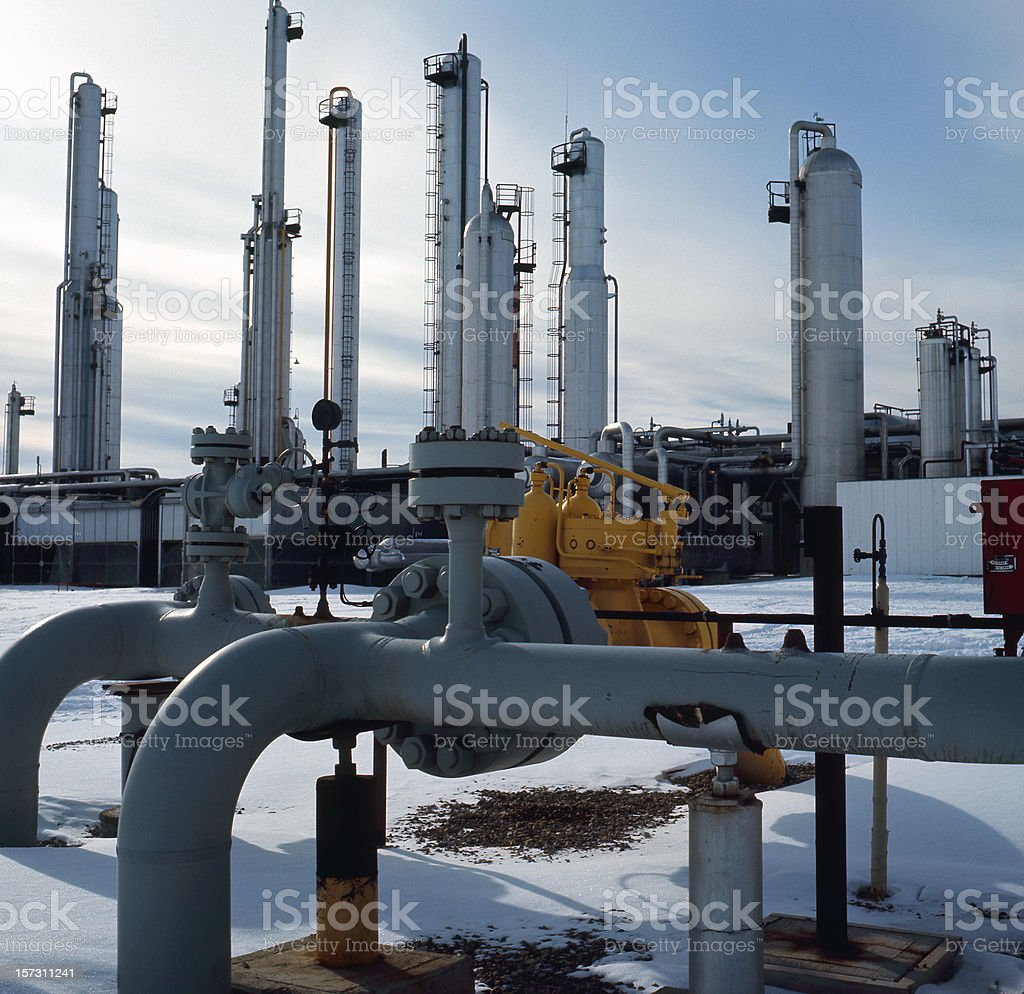 Gas Plant & Transmission Lines royalty-free stock photo