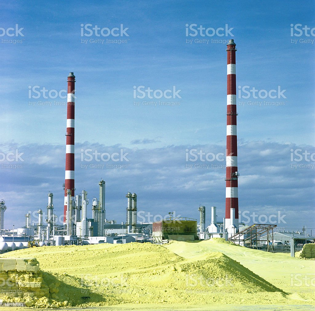 Gas Plant with Sulphur royalty-free stock photo
