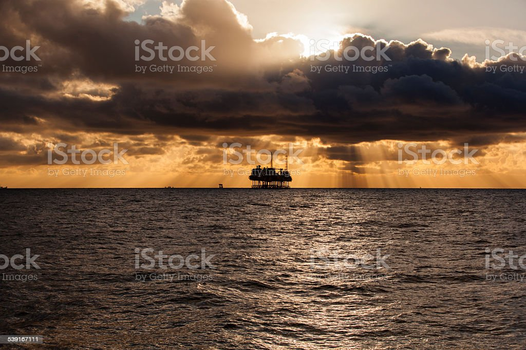Gas platform on the North sea stock photo