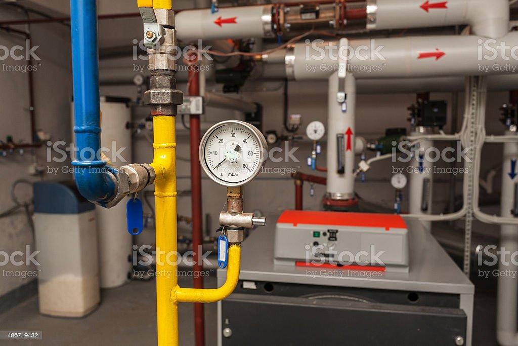 Gas pressure gauge indicator in boiler-room stock photo