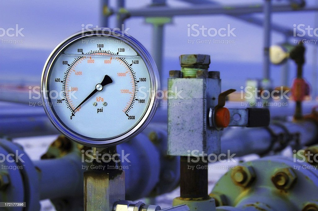 Gas Pressure Guage stock photo