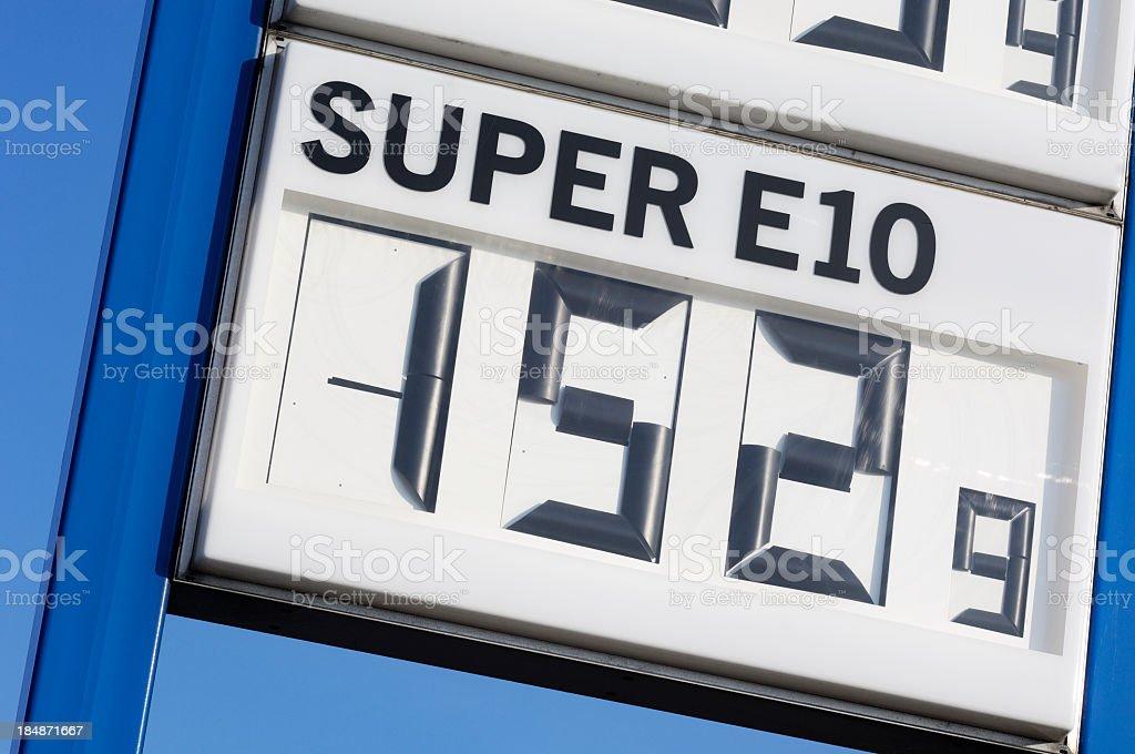 Gas price in Euro for E10 super fuel stock photo