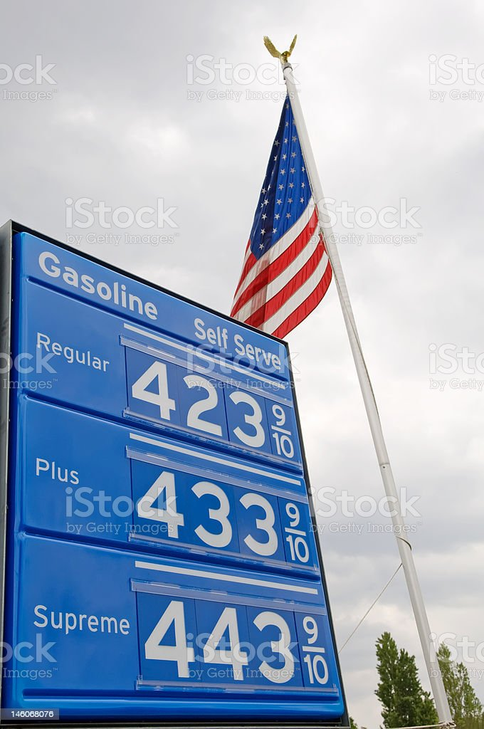 Gas Price Sign with US flag stock photo