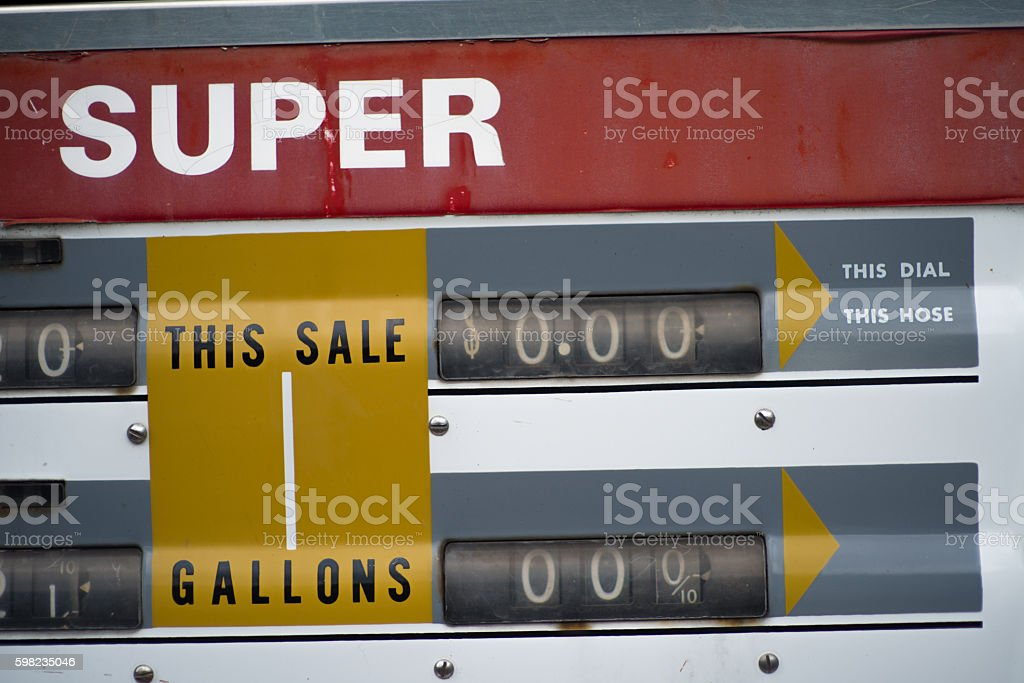 Gas prices at the pump vintage stock photo