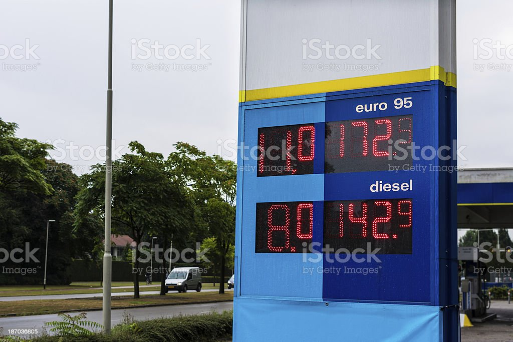 Gas prices on a gloomy day royalty-free stock photo