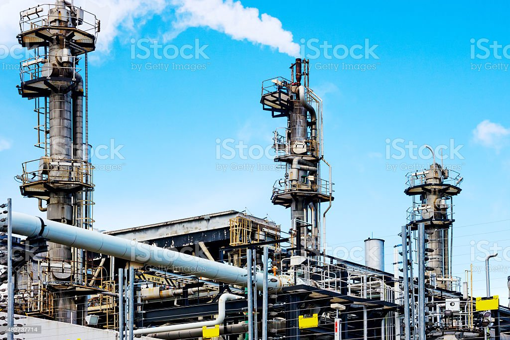 Gas processing plant stock photo