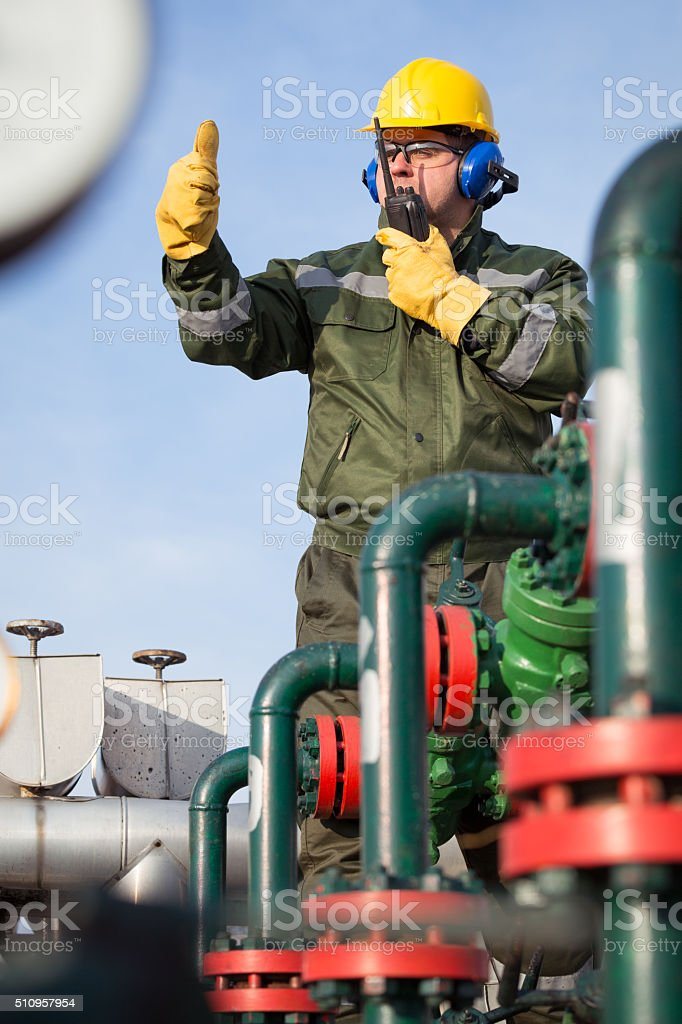 Gas Production Operator stock photo