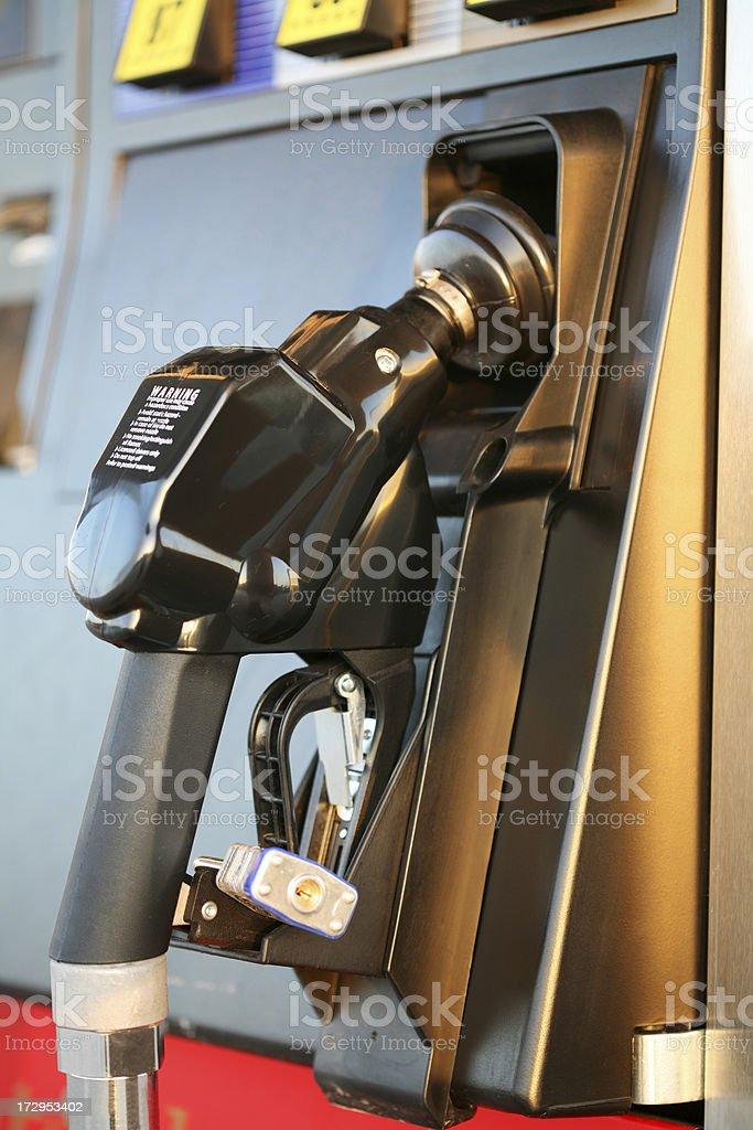 Gas pump handle close-up stock photo