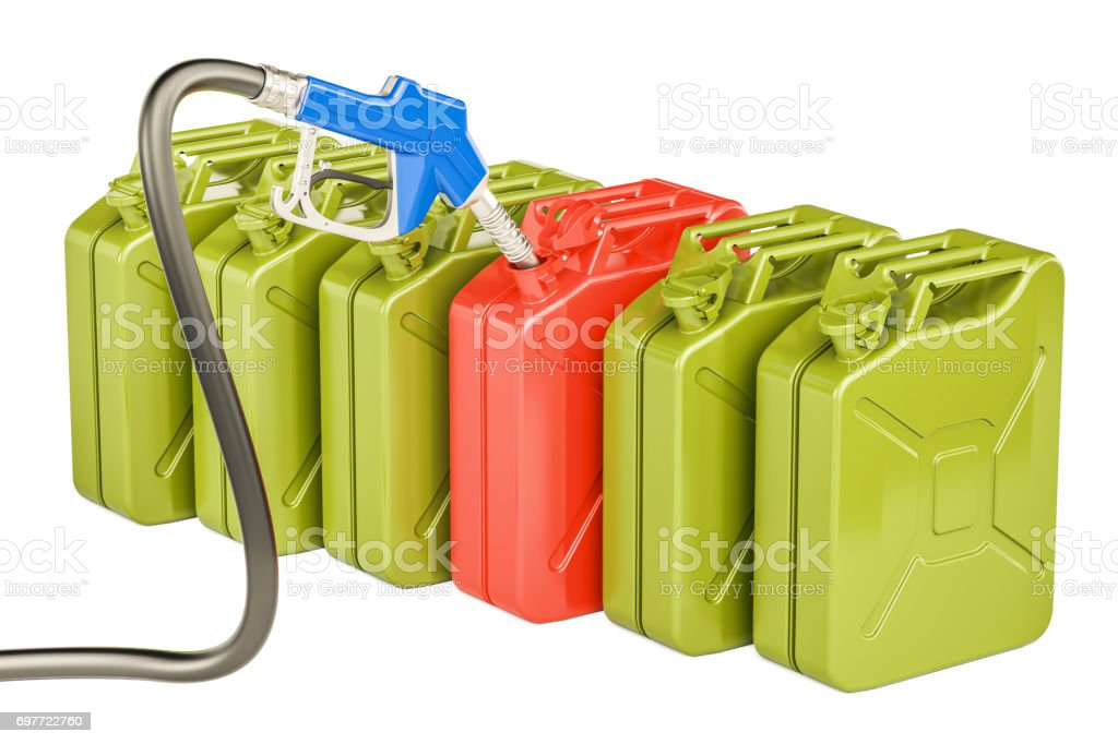 Gas pump nozzle and jerrycans, 3D rendering isolated on white background stock photo