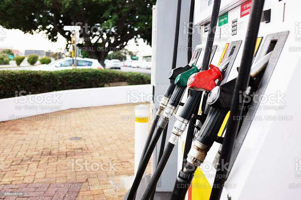 Gas pumps at suburban Shell filling station in Cape Town stock photo
