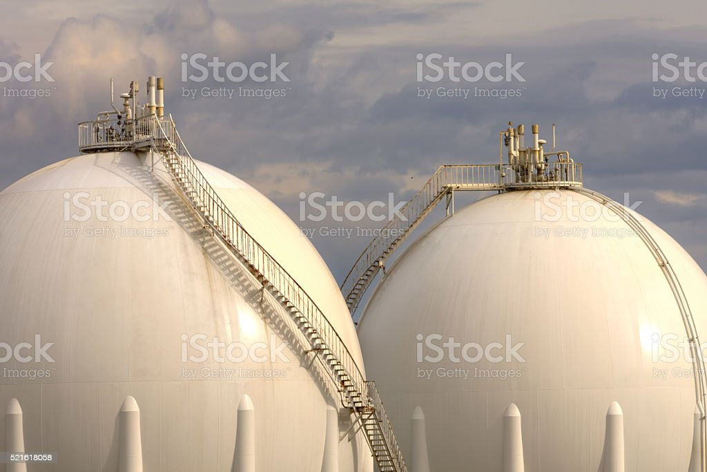 Gas Refinery tanks stock photo