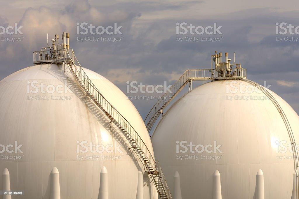 Gas Refinery tanks stock photo