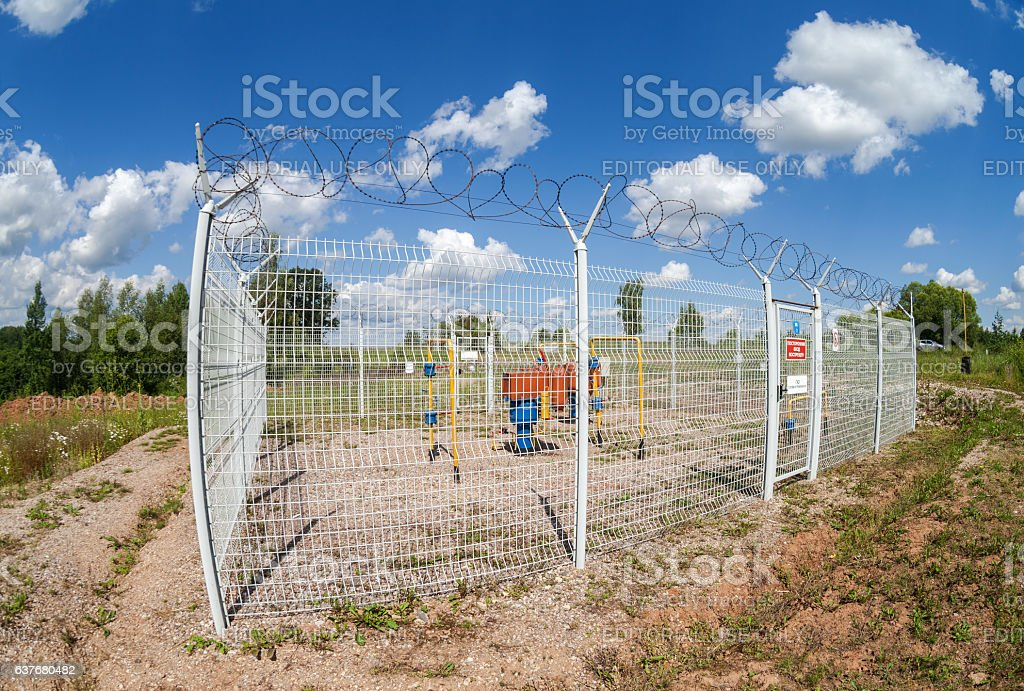 Gas regulatory and distribution point stock photo