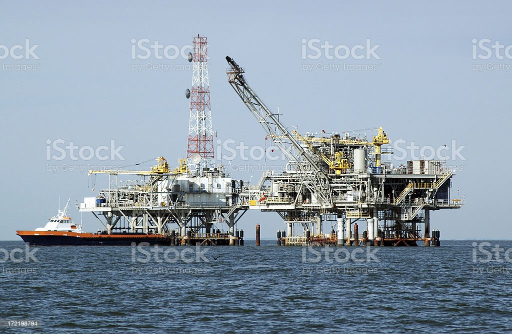 Gas Rig, Double Platform and Crewboat stock photo