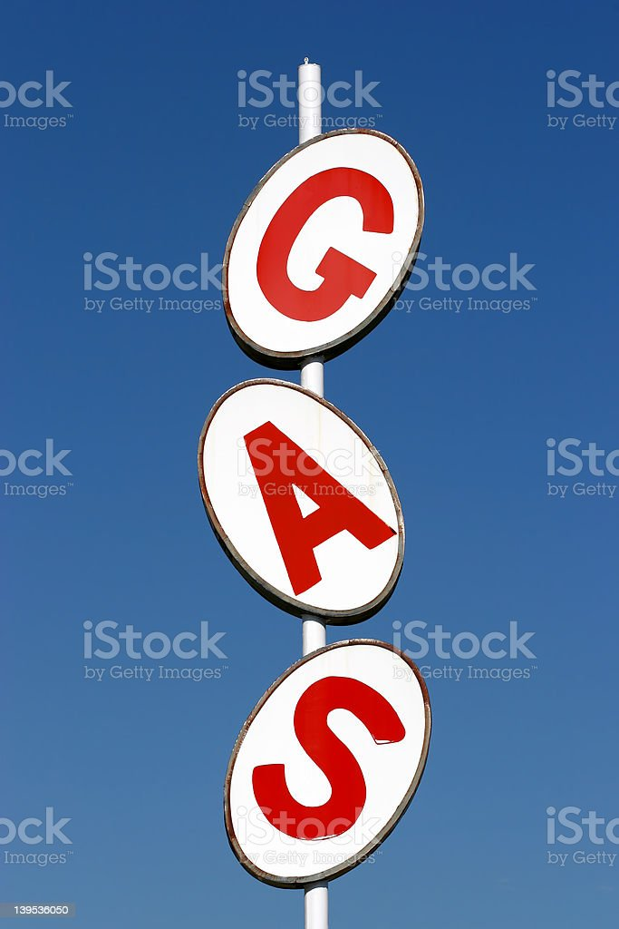 gas sign against blue sky royalty-free stock photo