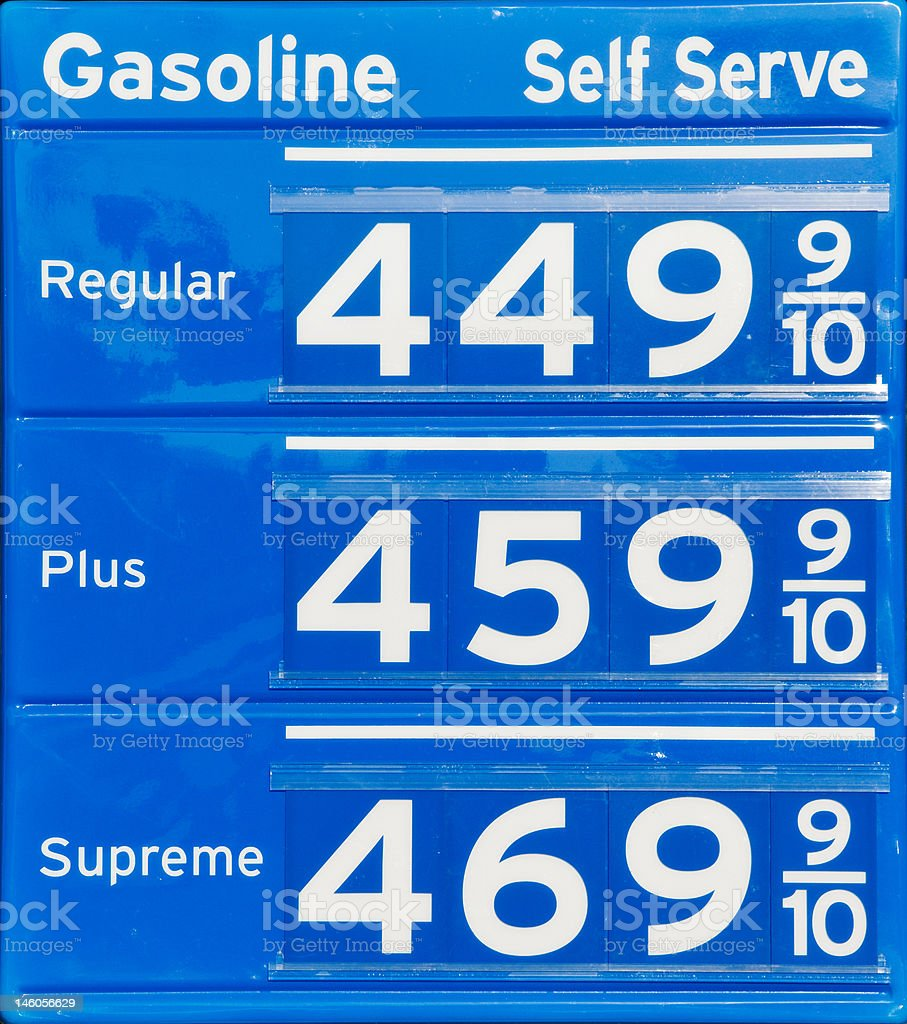 Gas sign with high prices stock photo