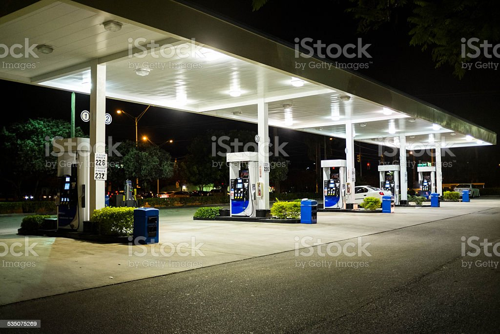 Gas Station at Night stock photo