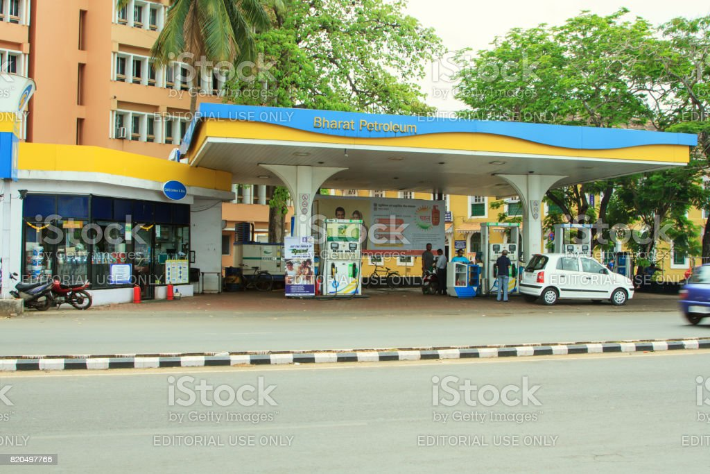 Gas station Bharat Petroleum in Panjim stock photo
