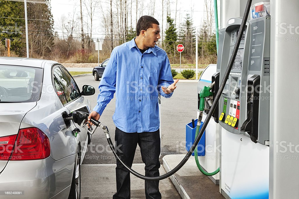 Gas Station Frustration stock photo