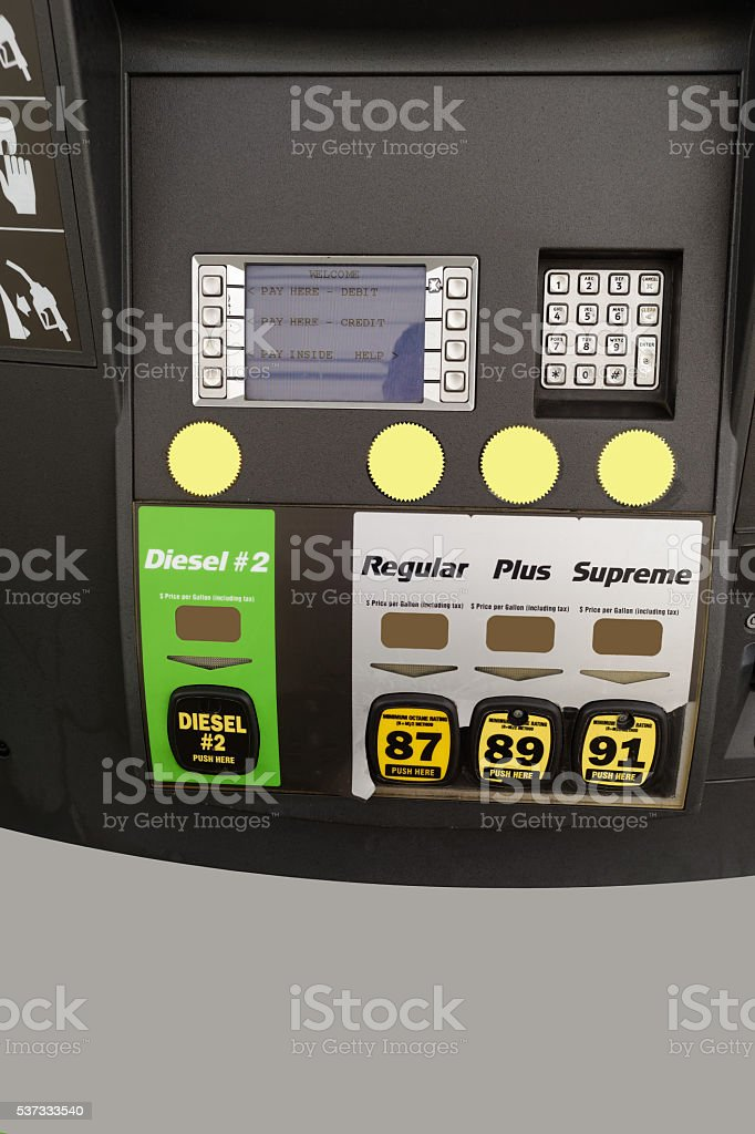 Gas Station Fuel Pump Grades stock photo