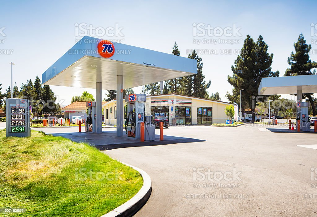 76 gas station in Campbell Central California stock photo
