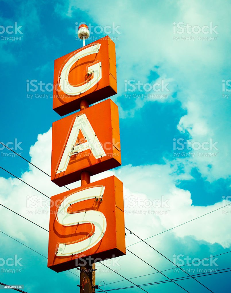 Gas Station Sign stock photo