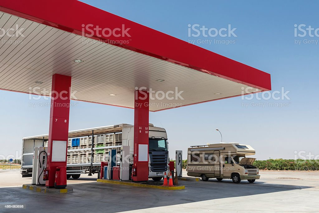 Gas station, Spain stock photo